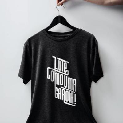 Camiseta lute como uma garota chumbo
