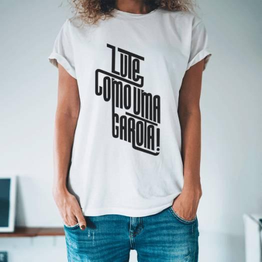 Camiseta lute como uma garota branco