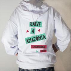 Blusa moletom com capuz - Chico Mendes salve a amazônia Costas branco