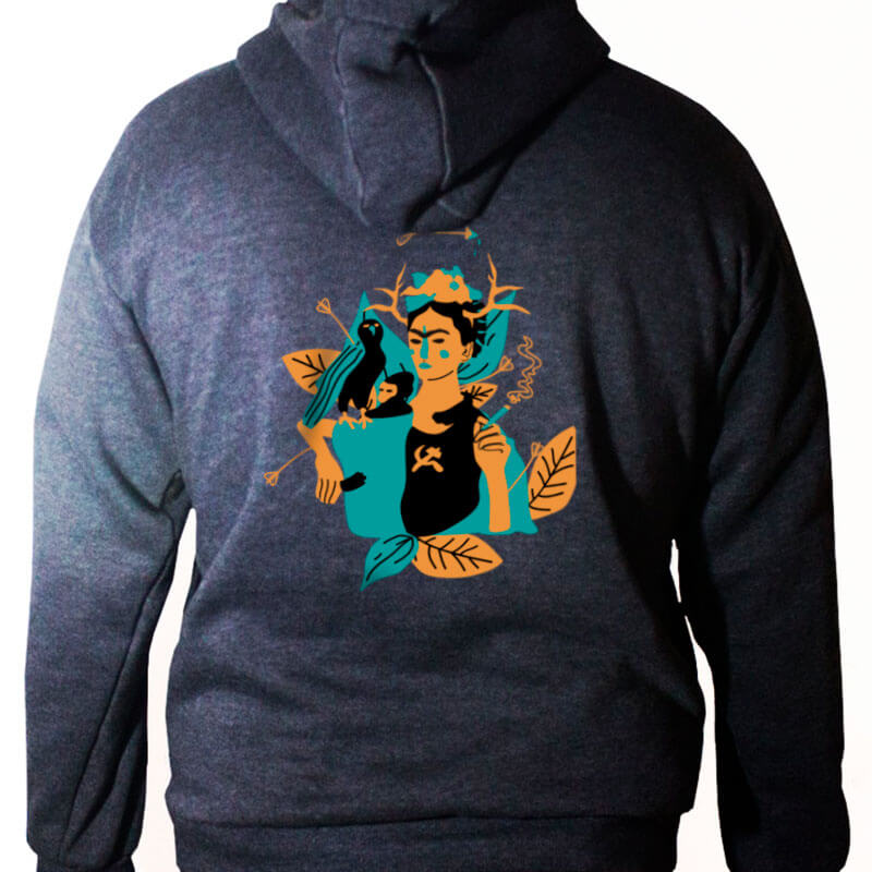 Blusa moletom com capuz - frida kahlo e suas obras - costas chumbo