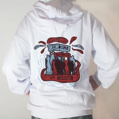 Blusa moletom com capuz - Dead Fish MST branco costas