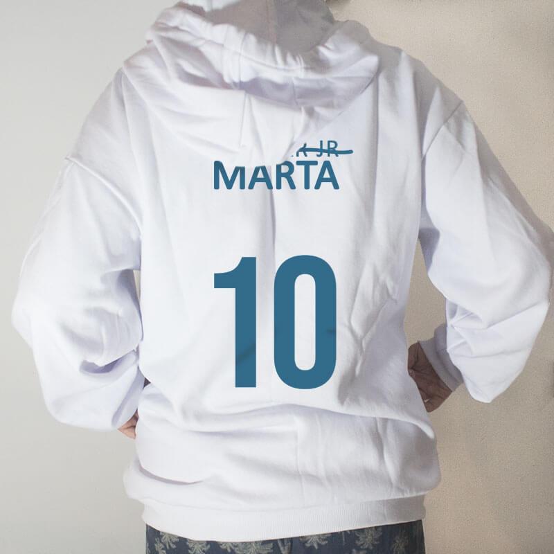 Blusa Moletom com capuz - Seleção Brasileira Feminina Feminista Marta Branca Costas