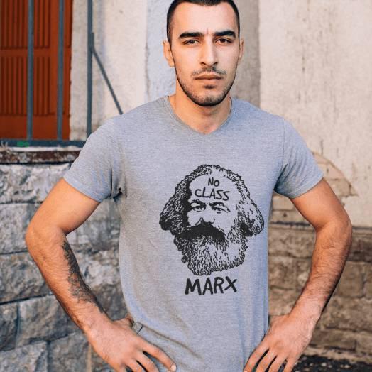 Camiseta Karl Marx No class cinza
