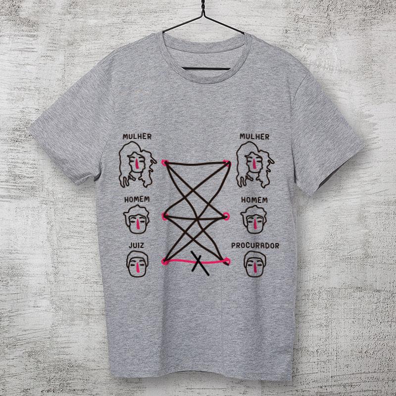 Camiseta de algodão cinza clara- Homem com mulher pode. Homem com homem pode. Mulher com mulher pode. Procurador com juiz não pode. Porque tudo tem limite