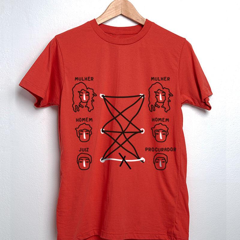 Camiseta de algodão vermelha - Homem com mulher pode. Homem com homem pode. Mulher com mulher pode. Procurador com juiz não pode. Porque tudo tem limite