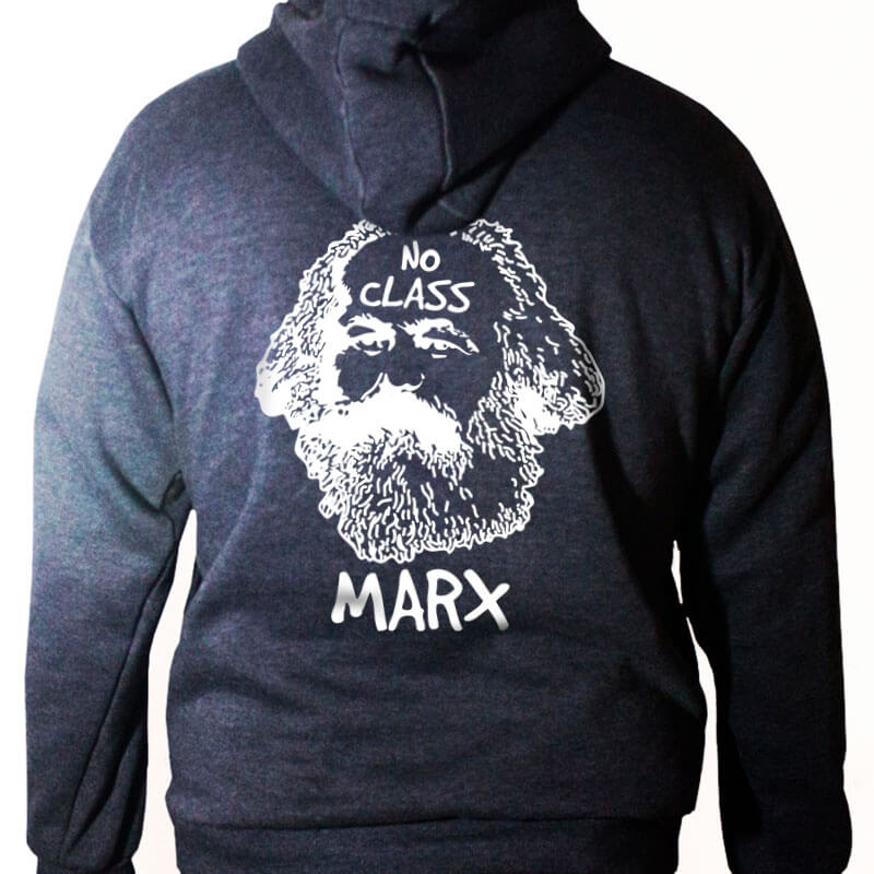 Blusa moletom com capuz - Karl Marx No class Chumbo