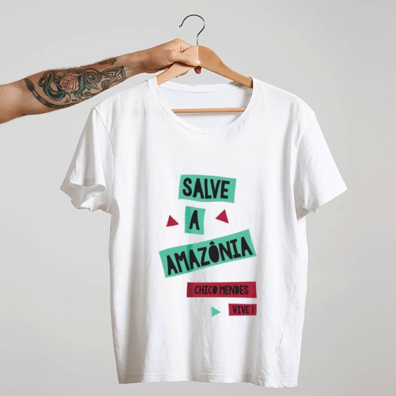 Camiseta - Chico Mendes - Salve a Amazônia Branca