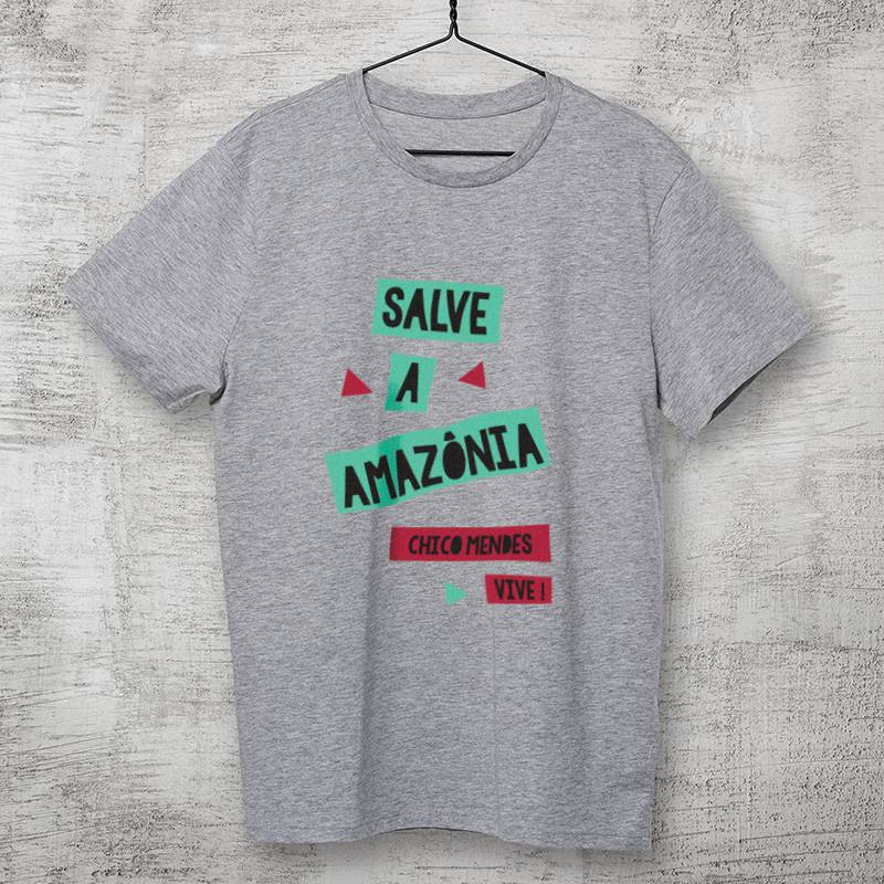 Camiseta - Chico Mendes - Salve a Amazônia Cinza