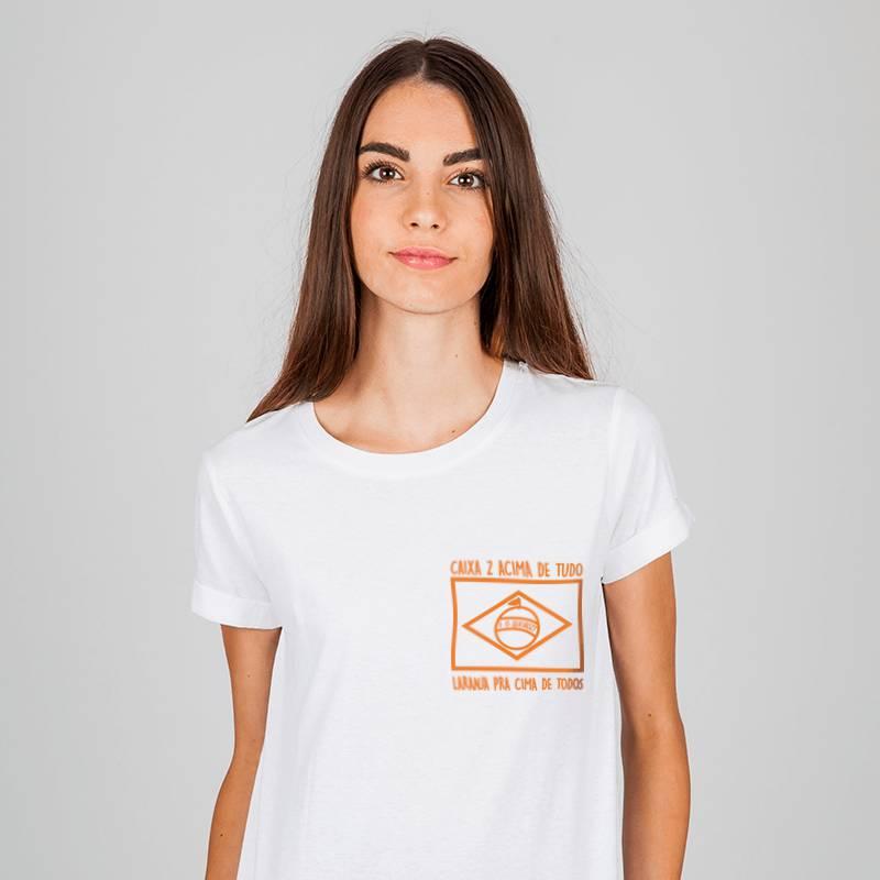 camiseta branca bandeira laranja