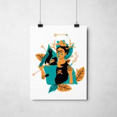 Poster Frida Kahlo e suas obras
