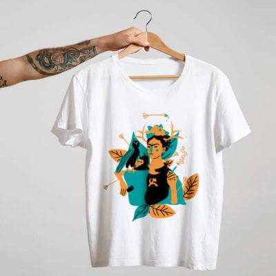 Camiseta de algodão branca frida kahlo e suas obras