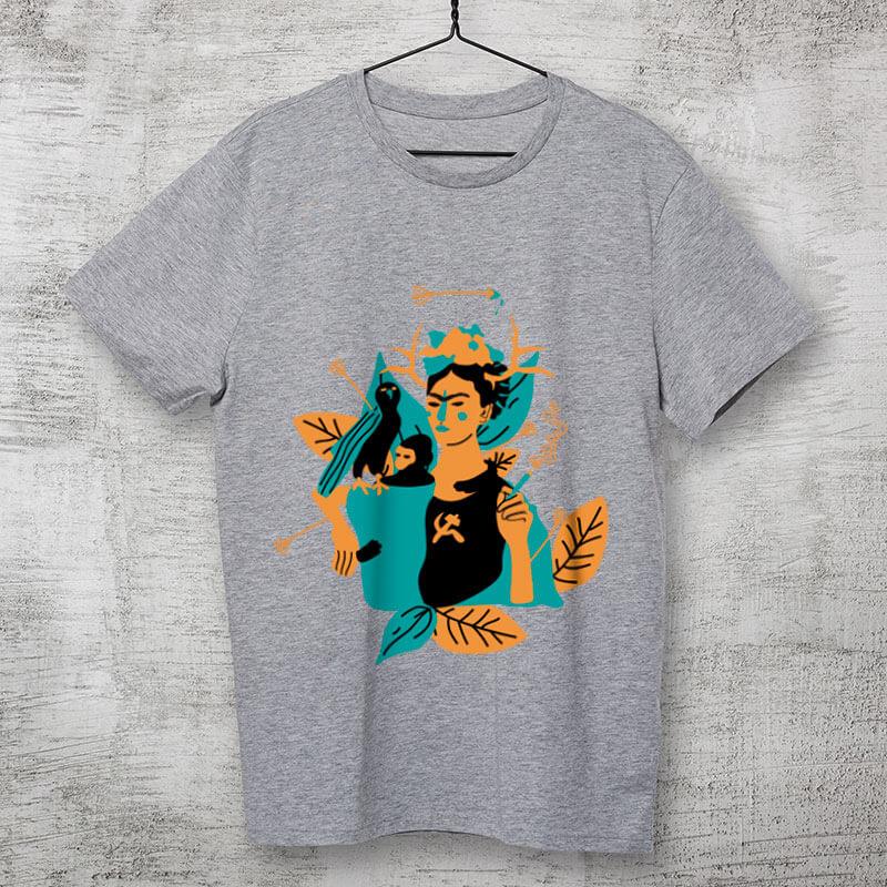 Camiseta de algodão cinza frida kahlo e suas obras