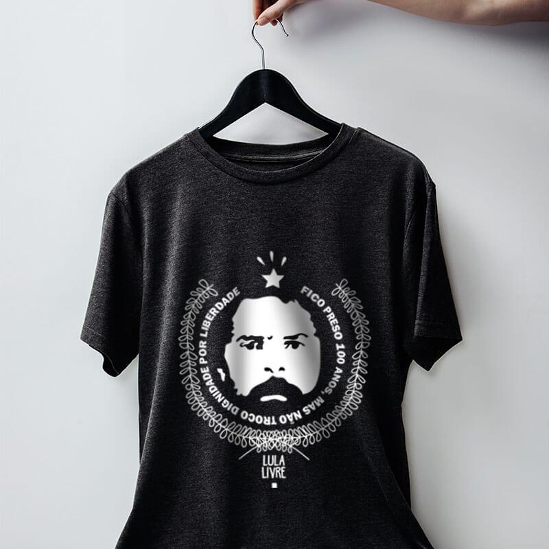 Camiseta de algodão chumbo Lula