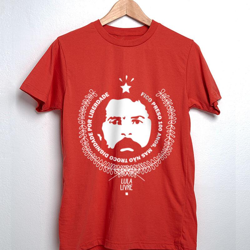 Camiseta de algodão vermelha Lula
