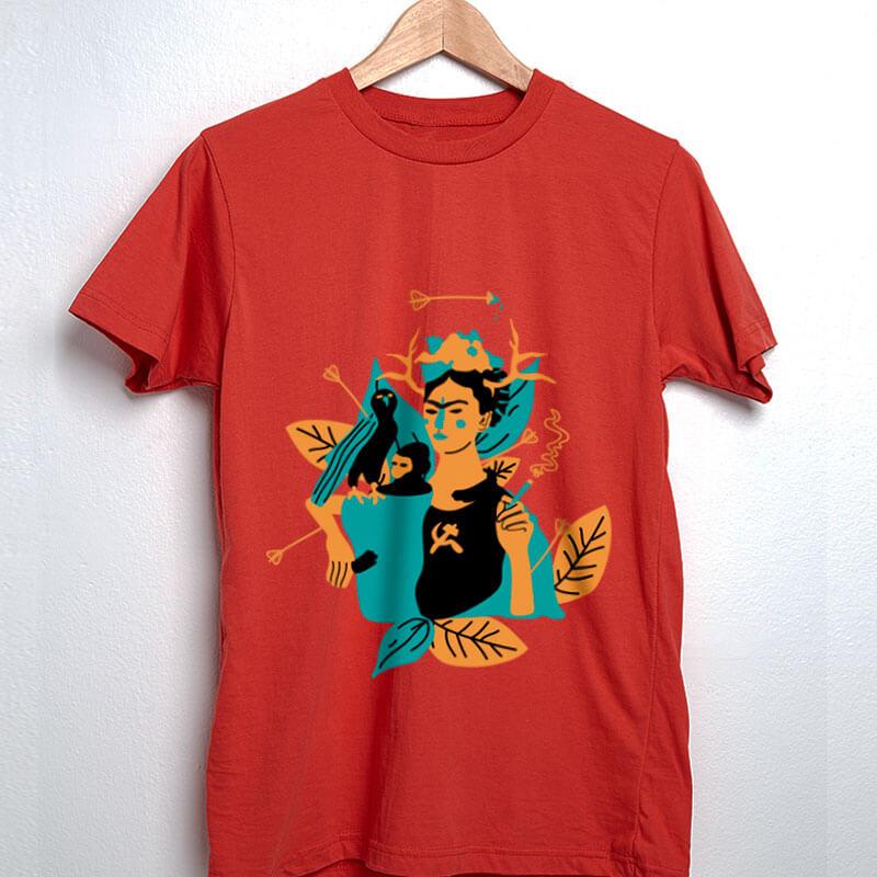 Camiseta de algodão vermelha frida kahlo e suas obras