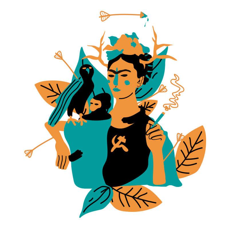 Ilustração de Alinne Martins, Frida Kahlo e suas obras
