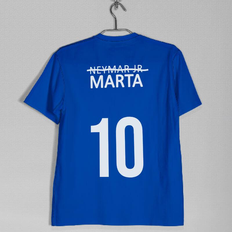 camisa seleção brasileira feminina Marta azul costas