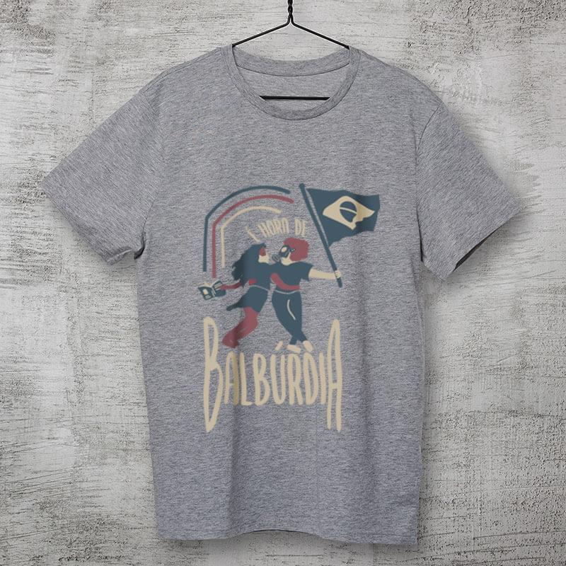 Camiseta Hora de balburdia Cinza Clara