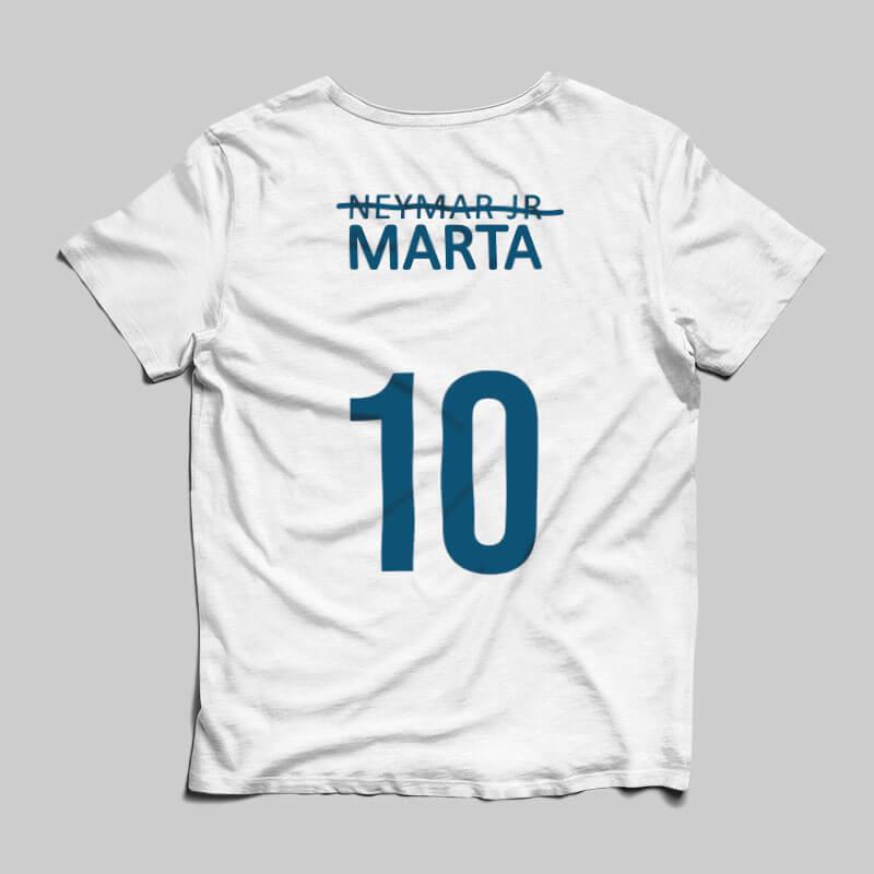 camisa seleção brasileira feminina Marta branca Costas