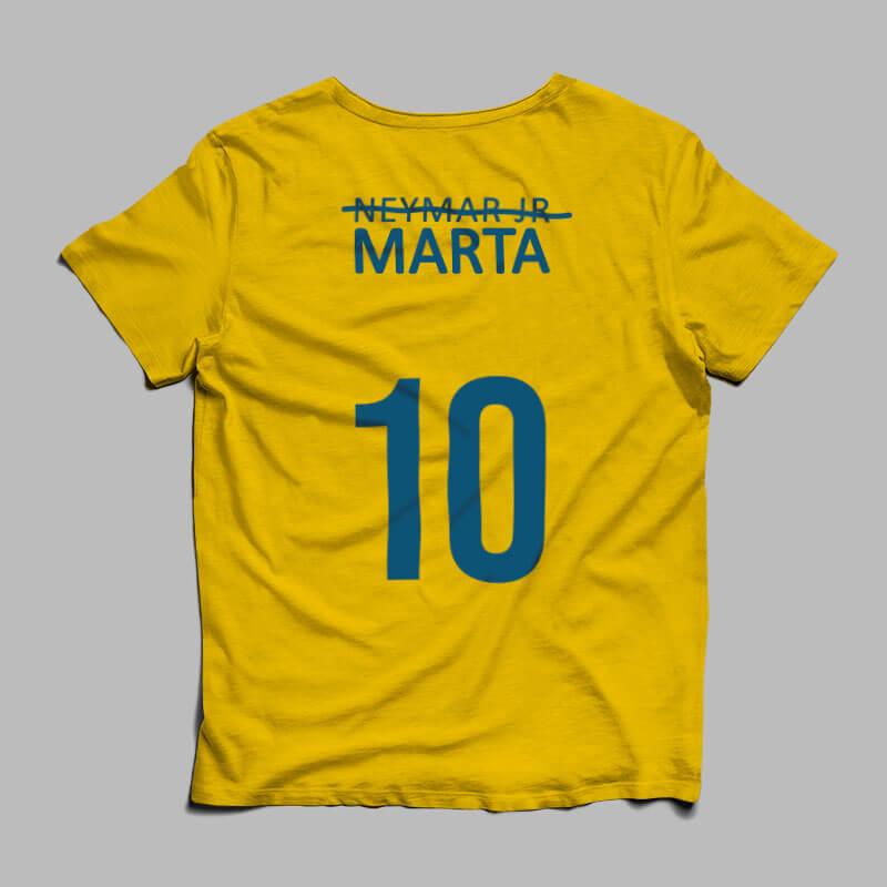 camisa seleção brasileira feminina Marta amarela costas