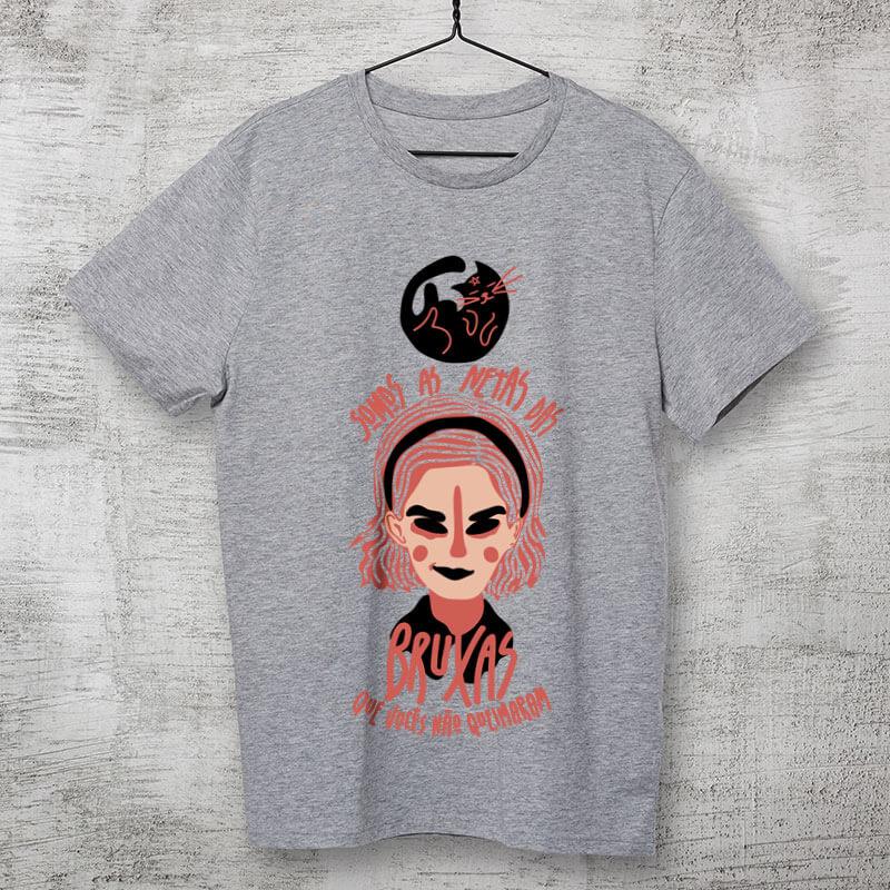 Camiseta Sabrina Spellman - somos as netas das bruxas que vocês não conseguiram queimar Cinza Clara