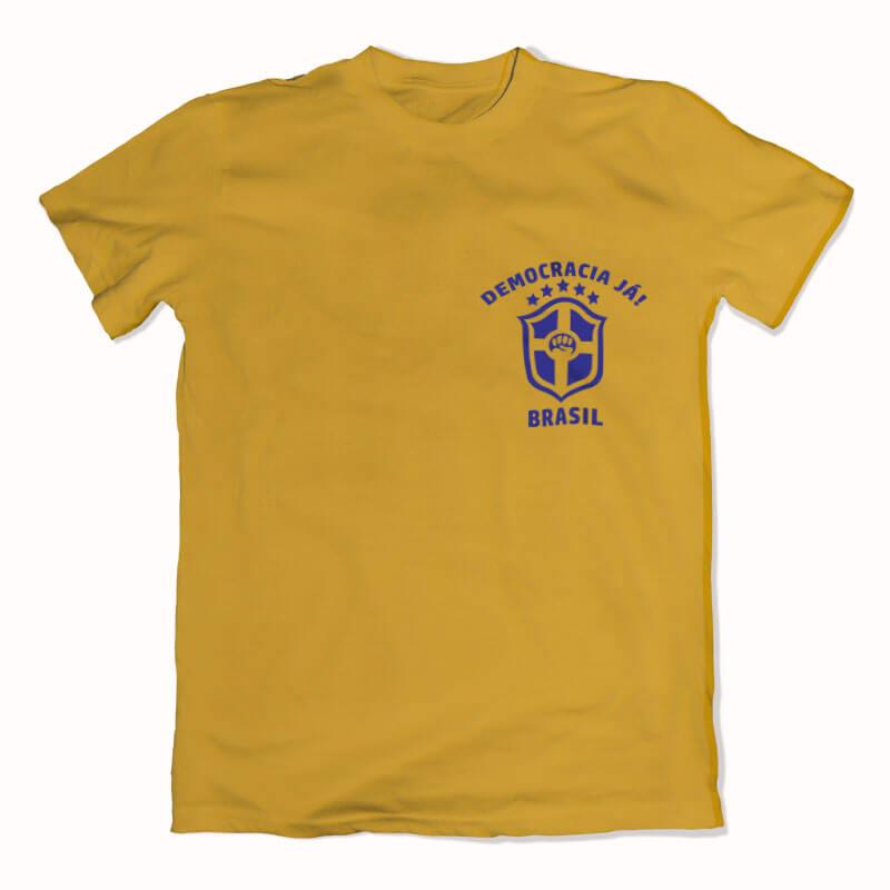 Camiseta amarela Seleção Brasileira Lula livre frente
