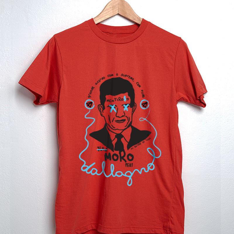 Camiseta de algodão vermelha Moro Mentiroso