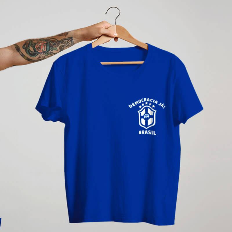 Camiseta Azul Seleção Brasileira Lula livre frente
