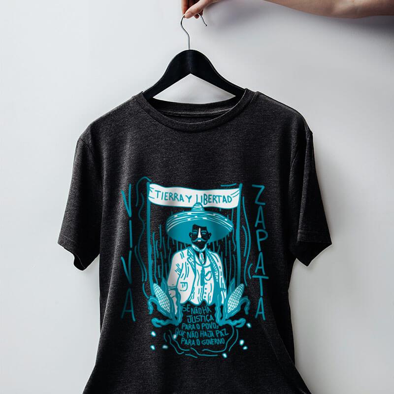 Camiseta - Emiliano Zapata - Chumbo