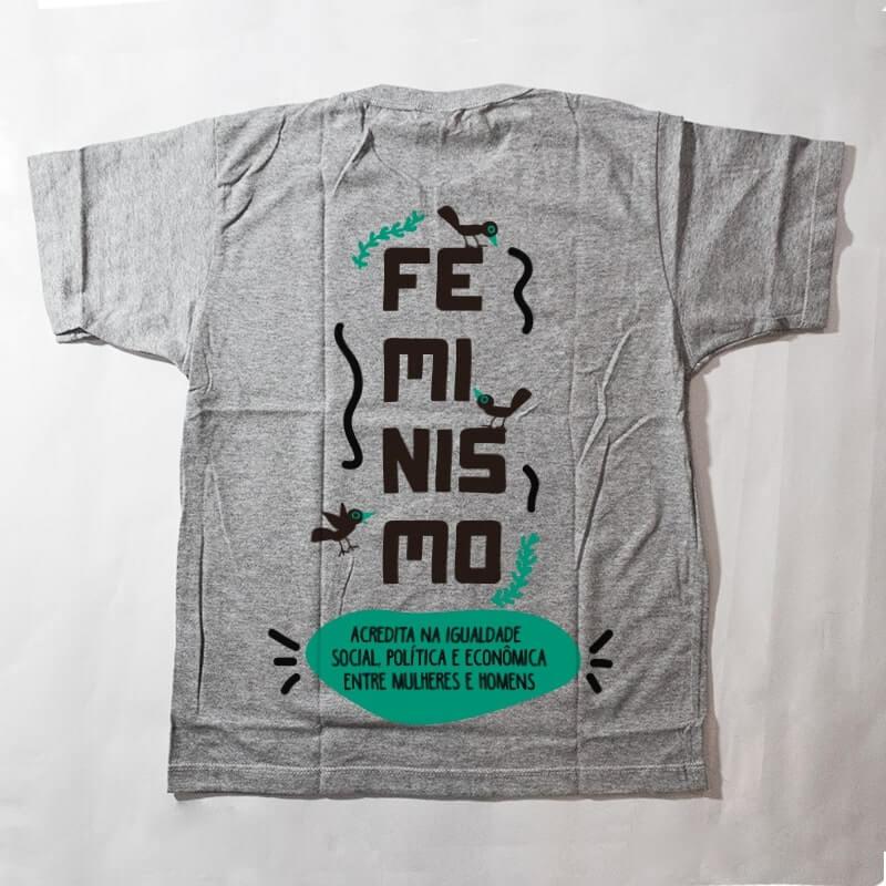 camiseta infantil - feminismo - cinza
