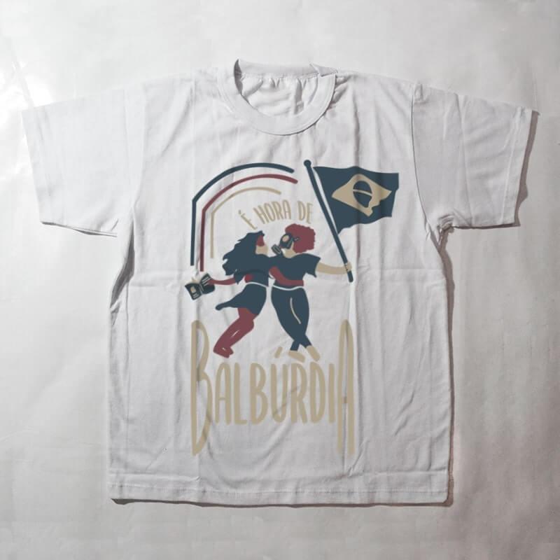 camiseta infantil - é hora de balburdia - branca