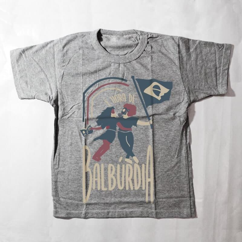 camiseta infantil - é hora de balburdia - cinza