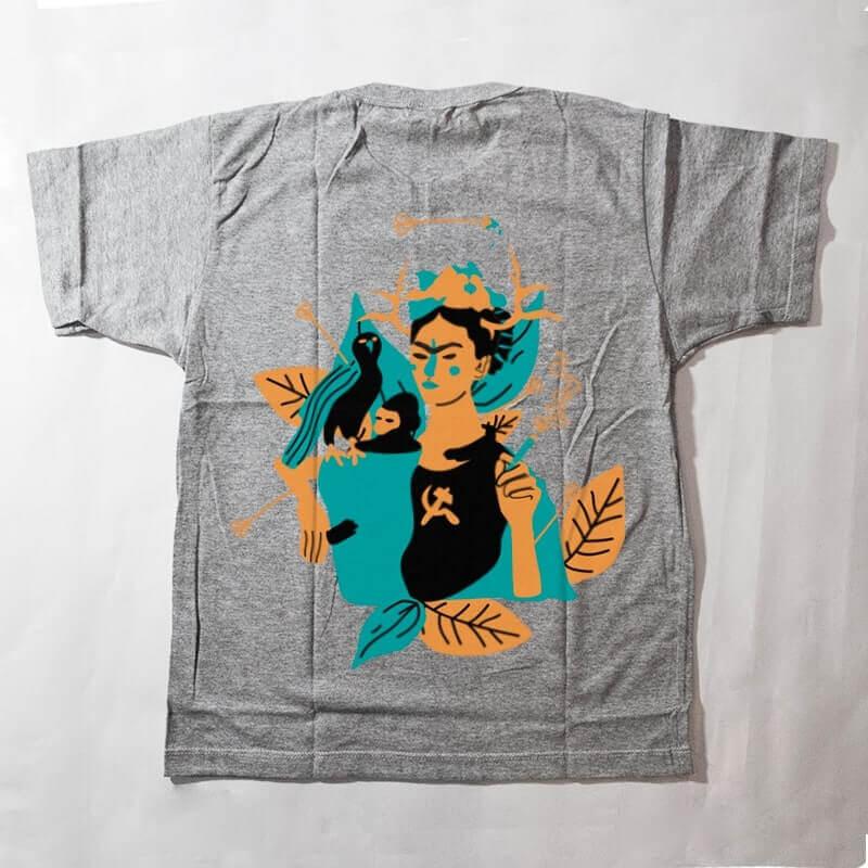 camiseta infantil - frida kahlo - cinza