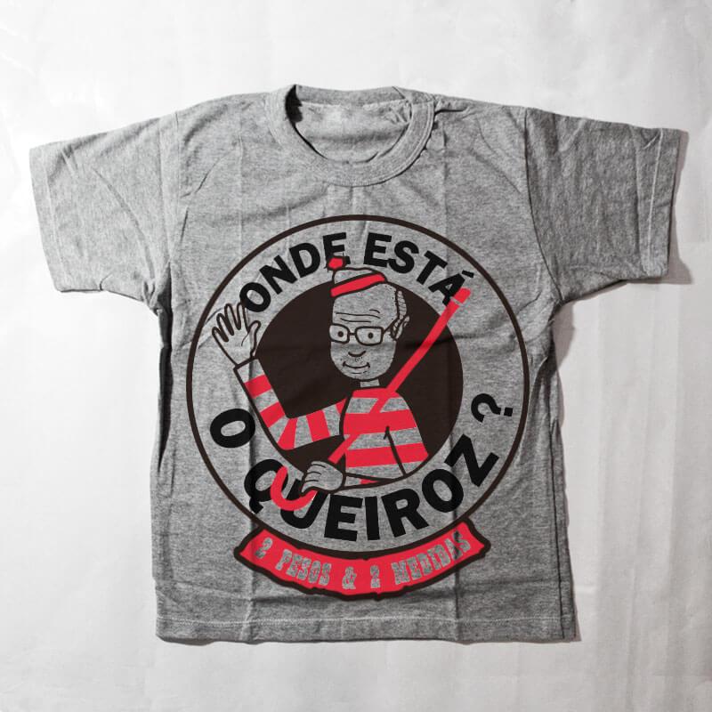 camiseta infantil - onde está o queiroz? - Cinza