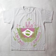 camiseta infantil - Na luta é que a gente se encontra - branca