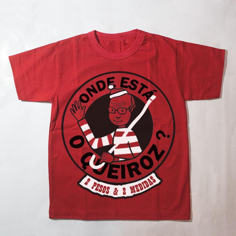 camiseta infantil - onde está o queiroz? - vermelha