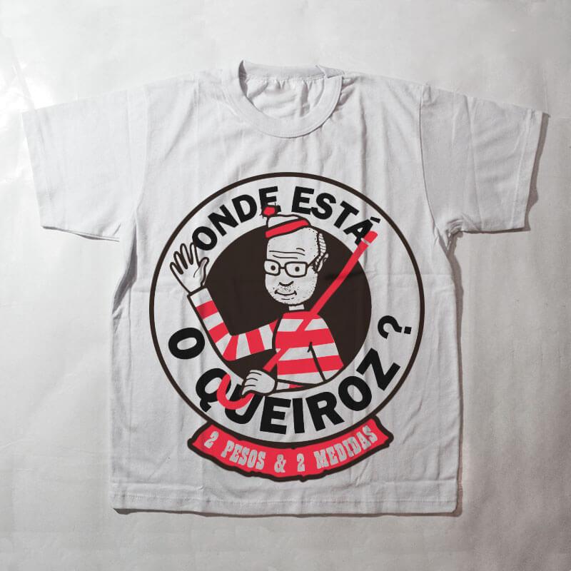 camiseta infantil - onde está o queiroz? - branca