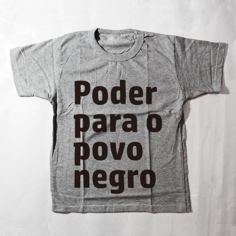camiseta infantil - Poder para o povo negro - cinza