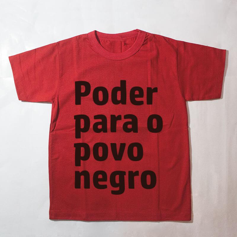 camiseta infantil - Poder para o povo negro - vermelha