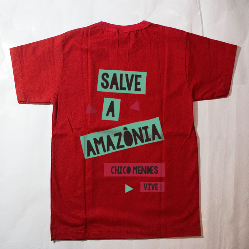 camiseta infantil - Chico Mendes - vermelha