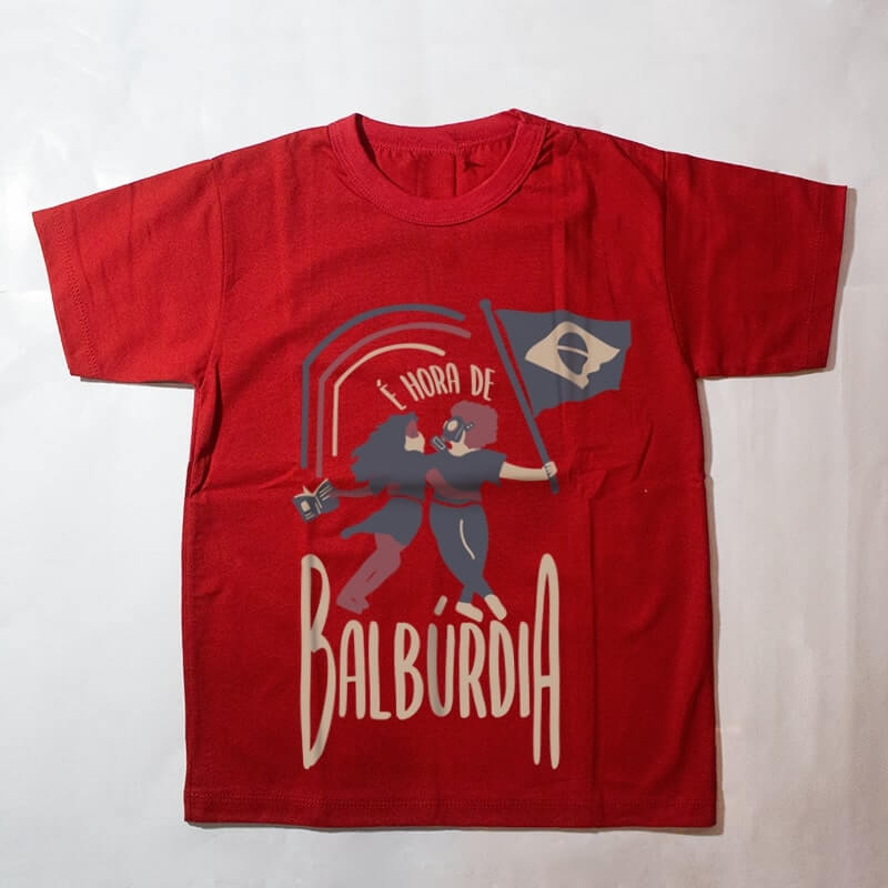 camiseta infantil - é hora de balburdia - vermelha