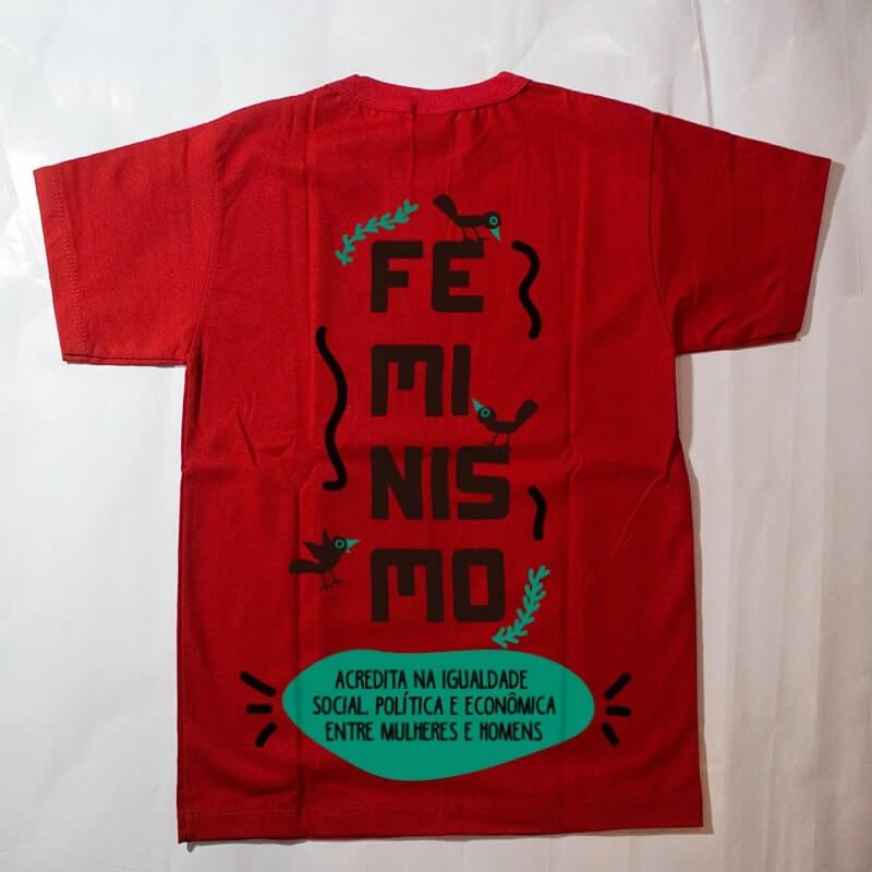 camiseta infantil - feminismo - vermelha
