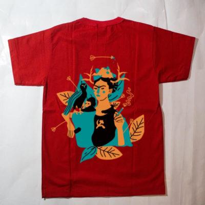 camiseta infantil - frida kahlo - vermelha