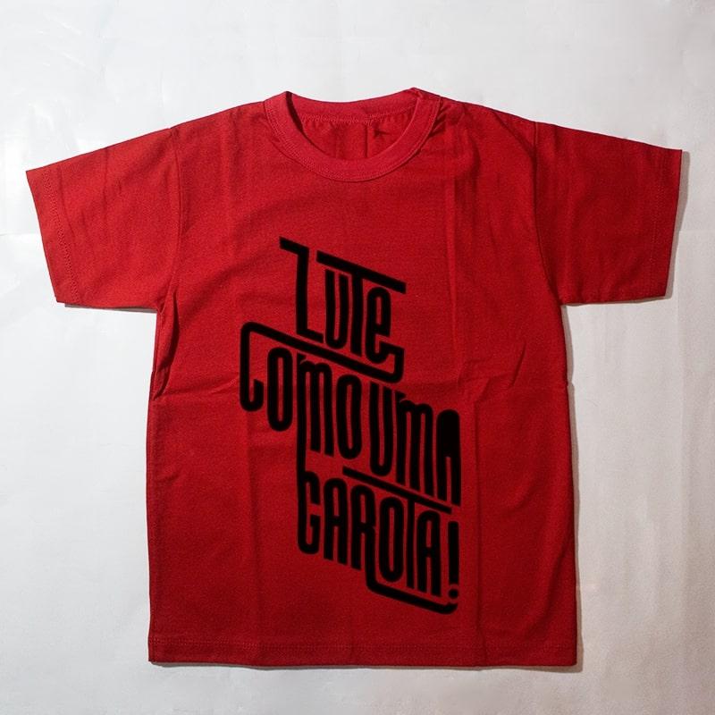 camiseta infantil - Lute como uma garota - vermelha