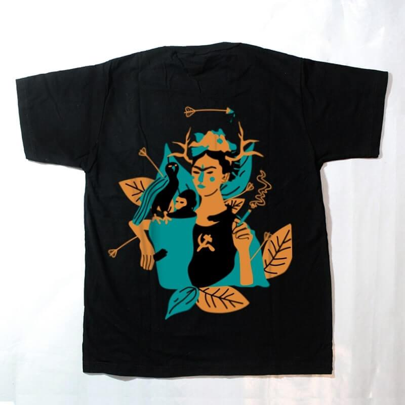 camiseta infantil - frida kahlo - preta