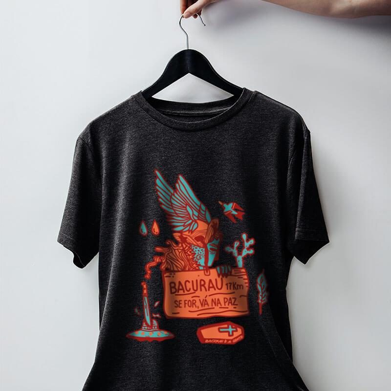 camiseta do filme brasileiro bacurau chumbo