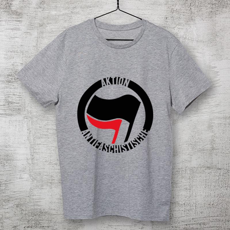 camiseta cinza clara de algodão Aktion Antifaschistische