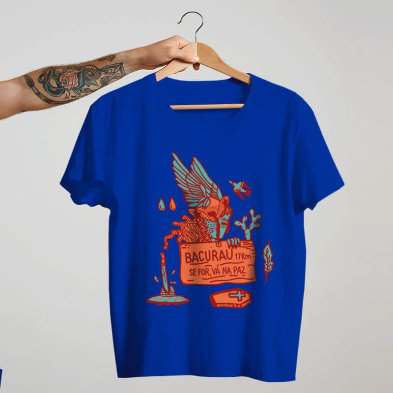 camiseta do filme brasileiro bacurau azul