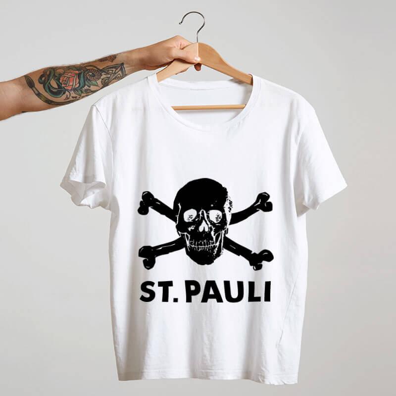 Camiseta de algodão St. Pauli branca
