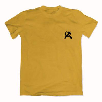 camiseta com escudo amarela básica de algodão Comunismo